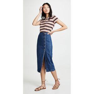 Free People Jasmine Buttoned Midi Skirt
